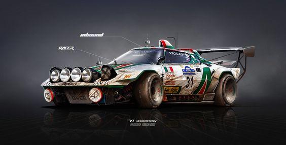 Lancia Stratos on Steroids Inbound racer, Yasid Oozeear on ArtStation at https://www.artstation.com/artwork/lGlma