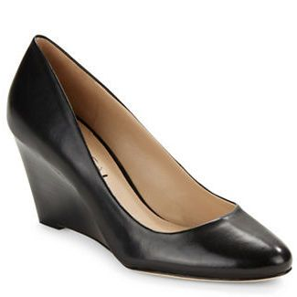 Little Black Shoes Pamina Leather Wedges by Via Spiga