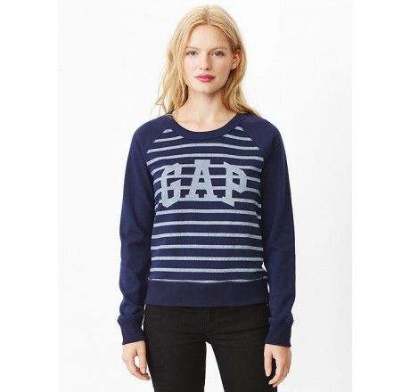 MOLETOM GAP WOMEN'S ARCH LOGO STRIPE SWEATSHIRT DARK NIGHT #MOLETOM #GAP