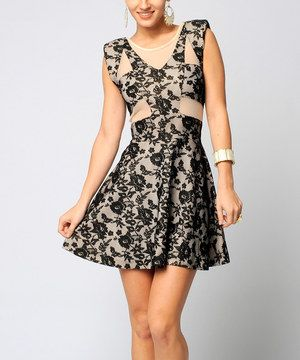 Look at this #zulilyfind! Sara Boo Off-White & Black Lace A-Line Dress by Sara Boo #zulilyfinds
