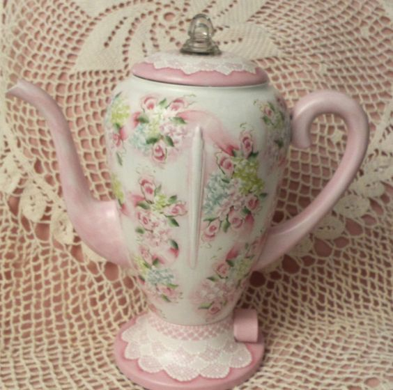 Hand Painted Vintage Coffee Tea Pot Pink Roses Cottage Chic Shabby Lace HP