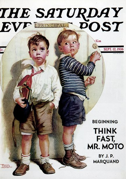 """Sept 12, 1936 • Cover Art: """"Boys In Principal's Office - School Fight"""" by Frances Tipton Hunter (American, 1896-1957)"""