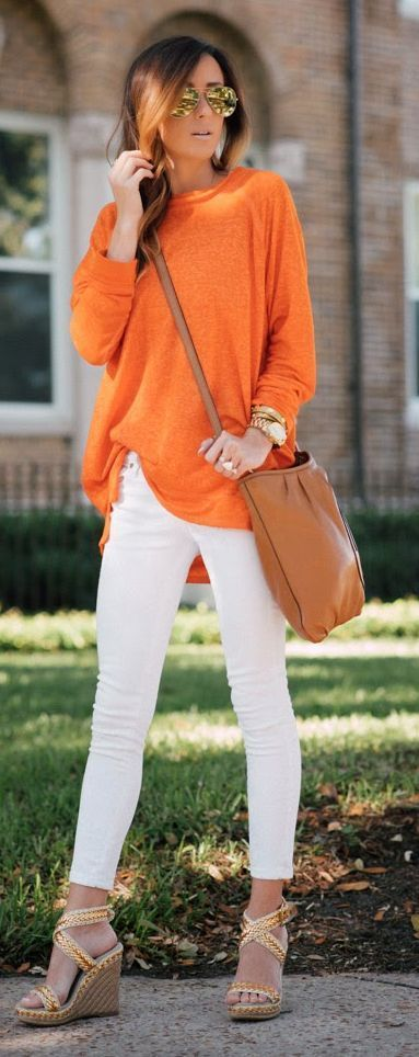 I love the look of a white jean, but they make me super nervous! (always afraid of spills!) I also like the bright orange and the drapiness of this top.