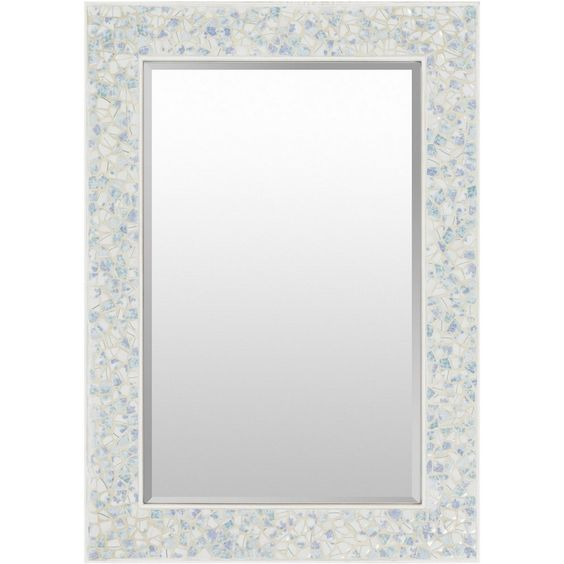 This large size mirror features a light blue mdf framed with its beautiful designs and unique rectangular shape. This home mirror is bound to become the focal point of any room or living space.