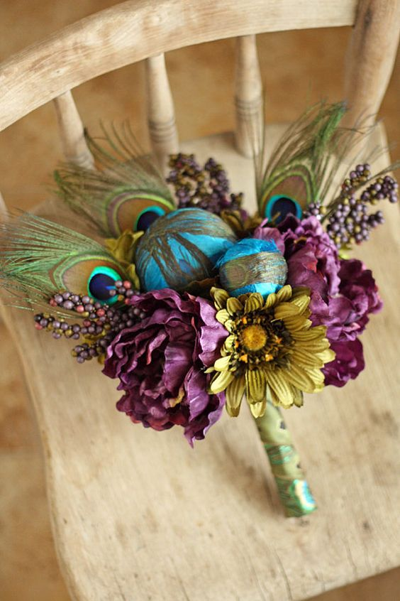 Peacock Feather Wedding Bridesmaid Bouquet - Plum Teal and Olive Green Bouquet