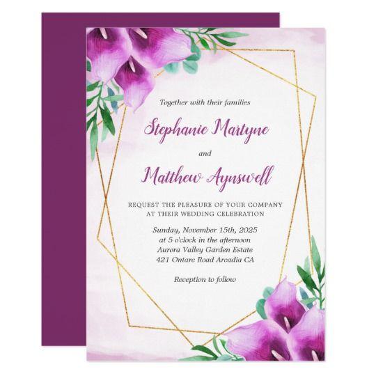 Geometric Purple Calla Lily Floral Wedding Invitation Zazzle Com