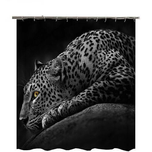 Sunset Leopard Cheetah Bathroom Shower Curtain Black Jaguar