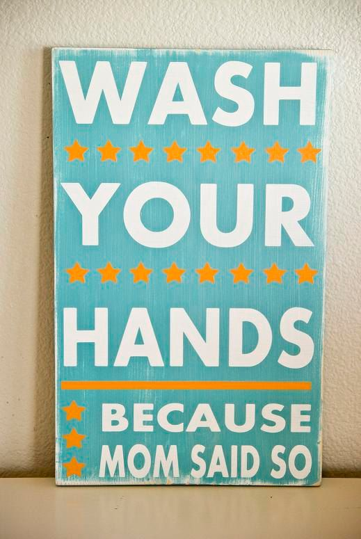 WANT! For the girls' bathroom!! Wash Your Hands Typography Bathroom Sign by WordWhipped on Etsy, $55.00