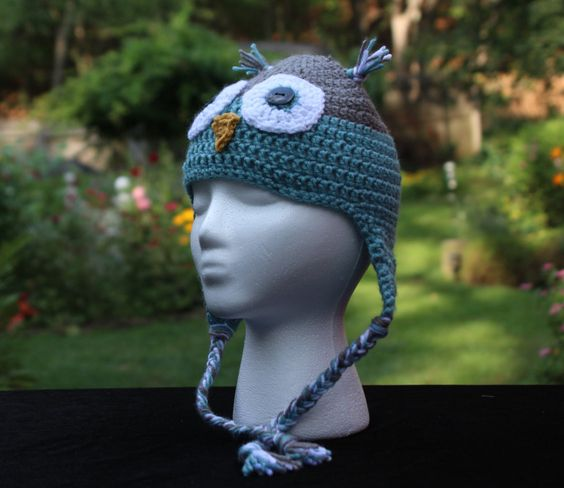 Grey and Sea Blue Owl Childs Crochet Hat, Owl Hat, Crochet Kids Hat, Crochet Kids Photo Prop, Owl Ear Flap Hat, Custom Colors, Hat For Kids by ArtfullyCreated4U on Etsy