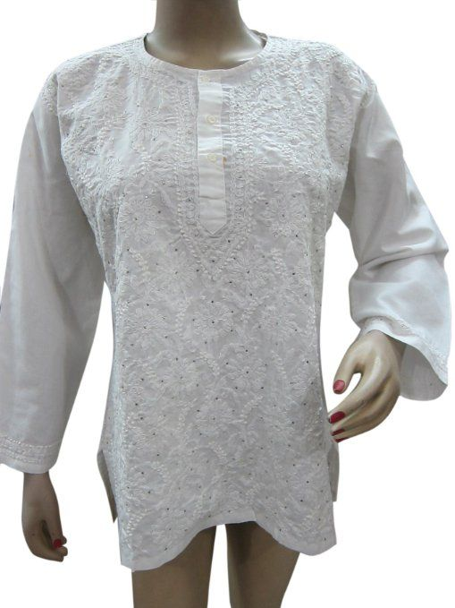 Amazon.com: Splashed White Tunic Top Cotton Kurta Floral Sequin Embroidered Blouse: Clothing