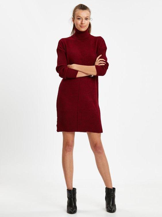 Lcw Bayan Elbise Modelleri Bordo Kisa Uzun Kol Bogazli Triko Elbise Siyah Topuklu Ankle Bot Triko Elbise Elbise Modelleri