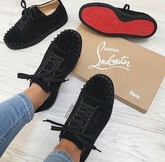 Style Details Louis Junior Spikes Woman Is A Signature Louboutin Sneaker For The Sporty S Red Bottoms Sneakers Louis Vuitton Shoes Heels Louboutin Shoes Price