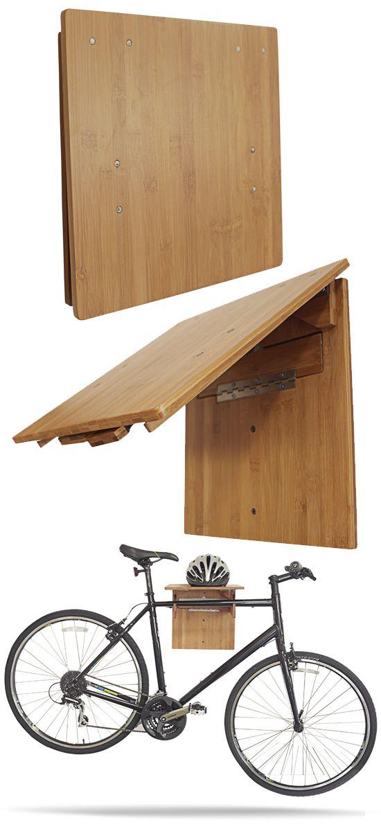 The COR Bamboo Fold-Away #Bike Rack. Space saving eco-friendly minimalist wall storage rack.