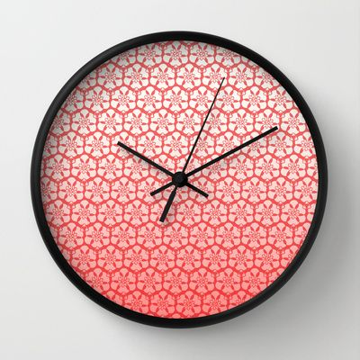 cream and red ombre pattern  Wall Clock by ankuart - $30.00