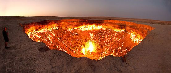 Door to Hell, Turkmenistan- A natural gas leak that was set on fire in 1971.