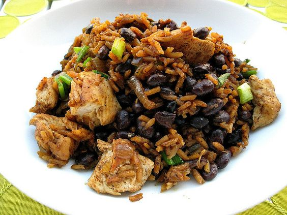Red Chile Chicken and Rice with Black Beans