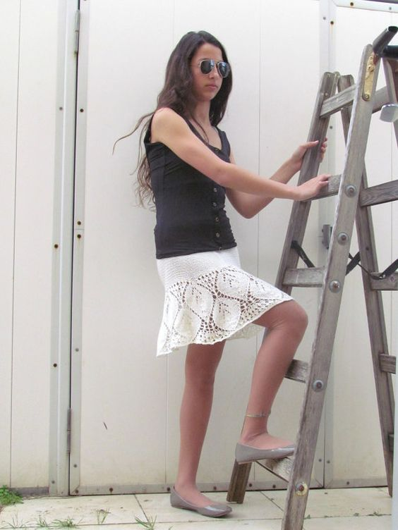 Cream Womens Crochet Lace Skirt Hand knit Halter Top por ettygeller, $69.00