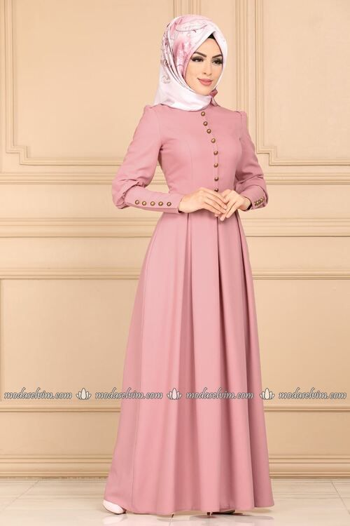Modaselvim Elbise Aksesuar Dugmeli Pileli Elbise Asm2156 Pudra Hijab Fashion Hijab Fashionista Abaya Fashion