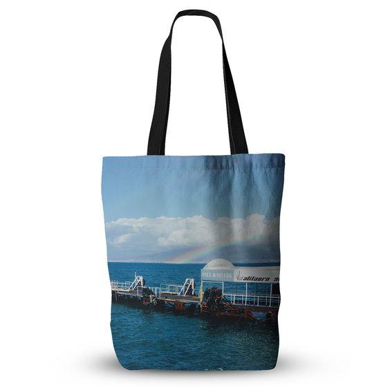 "Violet Hudson ""Rainbow Pier"" Blue White Everything Tote Bag"