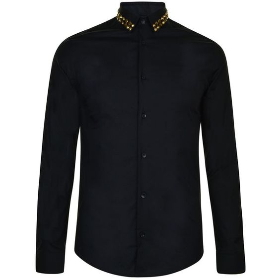 Versace Collection Gold Studded Shirt (1.155 BRL) ❤ liked on Polyvore featuring men's fashion, men's clothing, men's shirts, men's casual shirts, mens studded shirt, mens longsleeve shirts, mens regular fit shirts, mens long sleeve casual shirts and mens cotton shirts