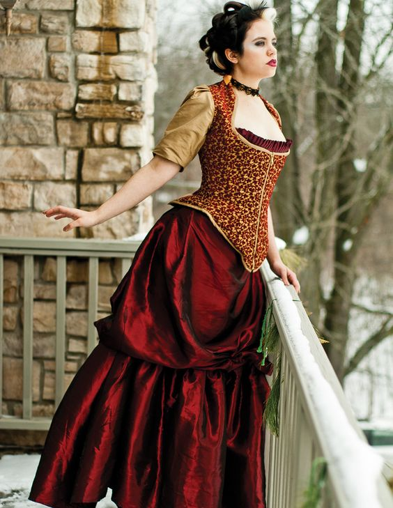 Steampunk bustle wedding gown red and gold corset by for Steampunk corset wedding dress
