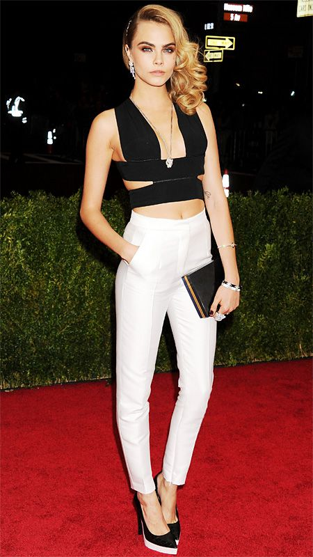 2014 Met Gala Red Carpet - Cara Delevingne in Stella McCartney and Cartier jewelry from #InStyle
