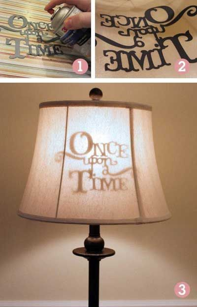 Stenciled lamp shade, make for bottle lamp