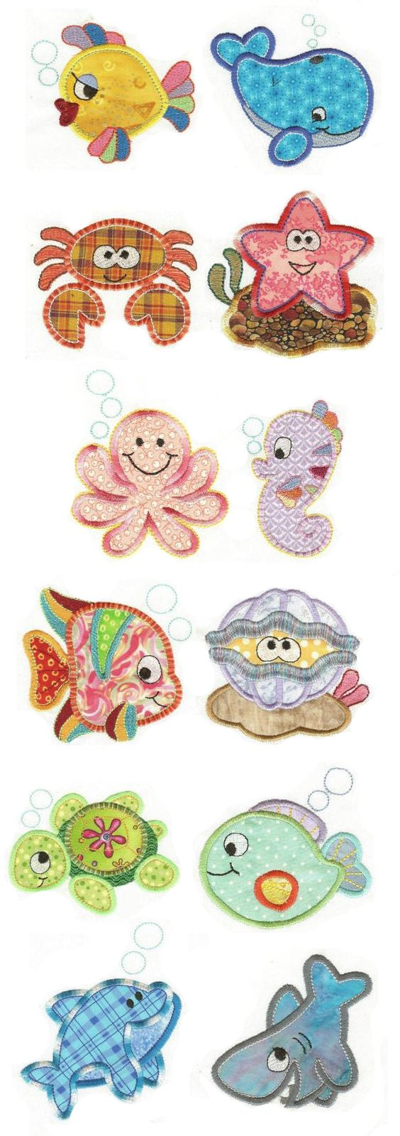 Critters of the Sea Applique design set available for instant download at www.designsbyjuju.com