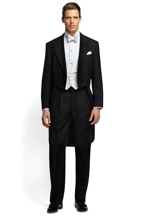 If your wedding will be the epitome of a formal celebration, go for White Tie and Tails. Our choice? The Golden Fleece Tails from Brooks Brothers.