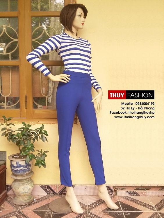 Áo thun kẻ ngang và quần baggy xanh coban V203