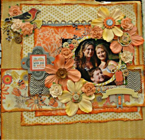layouts made with Prima, My Minds Eye, and Mon Ami Gabby.  Most of these layouts were set up in the Strictly Scrapbooking booth at the CKC and Expo shows and others were done as kits