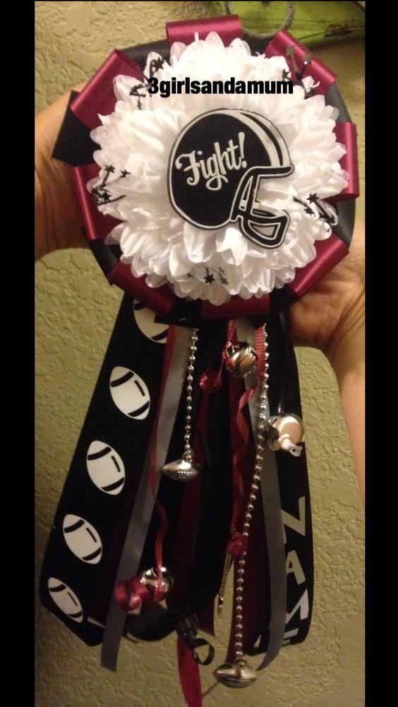 "12"" PeeWee Garter •Maroon,Black,White.Silver• #Garter #Homecoming #Homecomingmum"