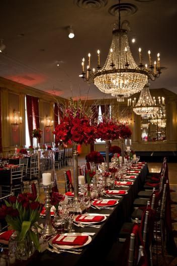 Colors wedding and red black on pinterest - Red and silver centerpiece ideas ...