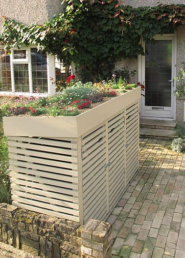 How to make a bin store with a green roof garden - How to decorate a dustbin ...