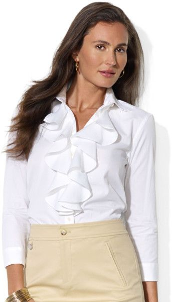 Women's White Long Sleeve Ruffle Front Blouse | Ralph lauren ...
