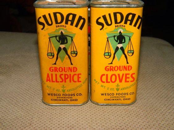Vintage Pair Sudan Spice Tins Ground Allspice Ground Cloves 2oz Cardboard Kroger
