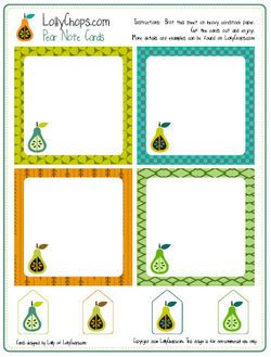 Free Printable Pear Note Cards
