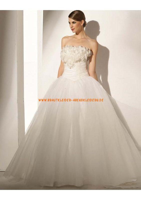 Prinzessin Glamourous Brautkleid A-Linie 2013 aus Organza mit Blumen