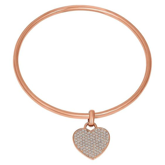 Women's Heart Bangle Bracelet with Crystals from Swarovski in 14K Pink Gold Over Sterling Silver, Pink Rose/White