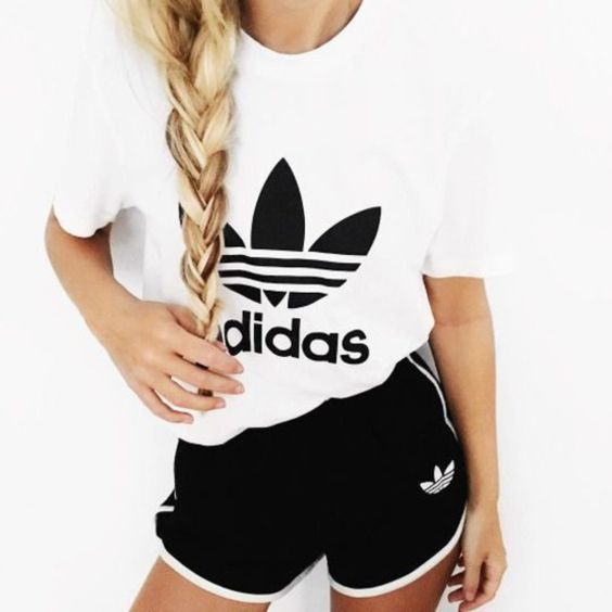 Shorts: gym gym clothes sportswear sports sports top white t-shirt black adidas…