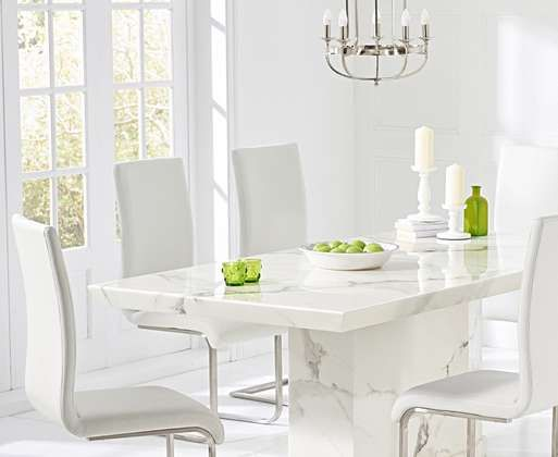 Carvelle 160cm White Pedestal Marble Dining Table With Malaga