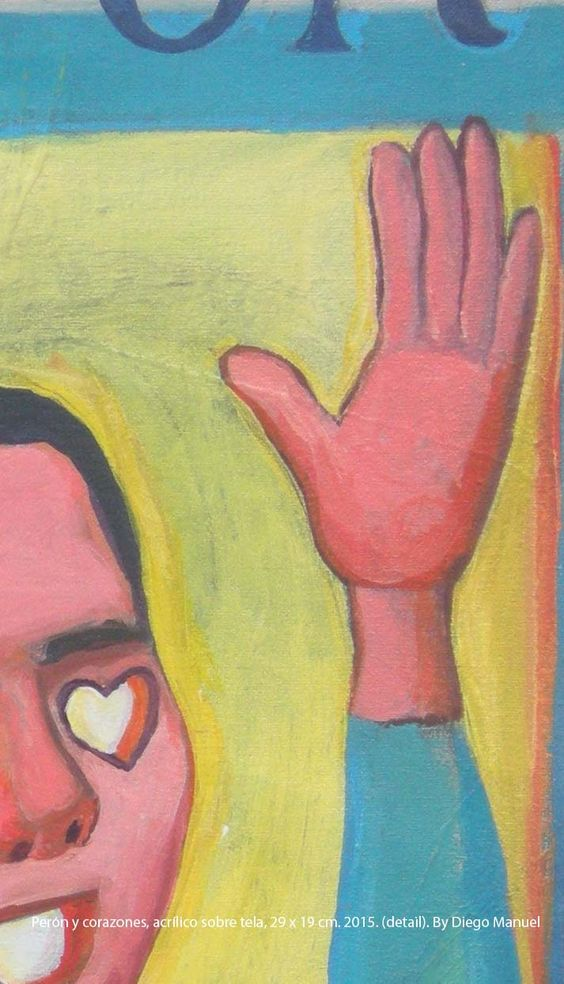 Perón y corazones, acrílico sobre tela, 29 x 19 cm. 2015.. Painting for sale of the Serie Portraits by artist Diego Manuel