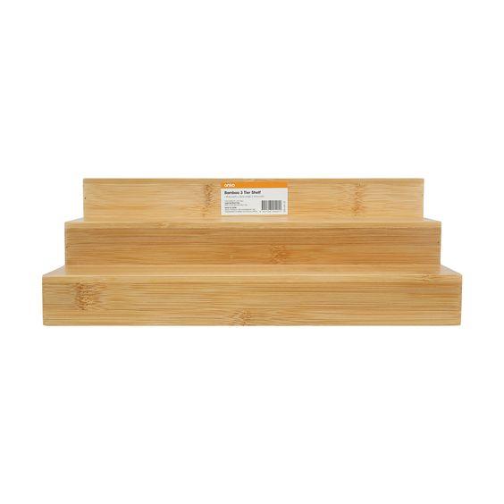 Bamboo 3 Tier Shelf Shelves Bamboo Tiered