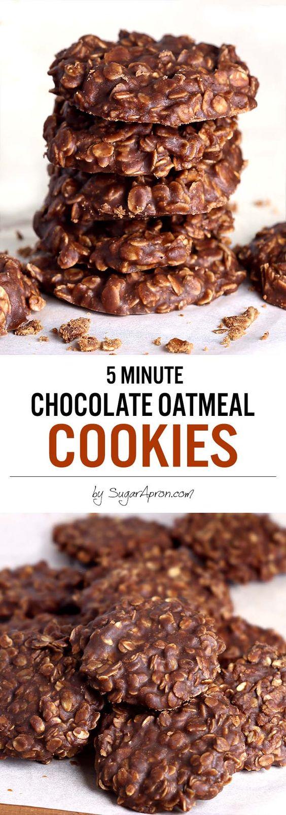 No Bake Chocolate Oatmeal Cookies made with peanut butter, oatmeal ...