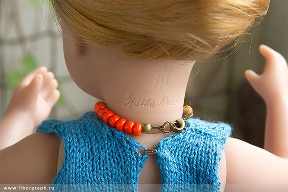 Käthe Kruse&Sylvia Natterer- Minouche Gala: blue jersey. #Minouche #Kaite Kruse #doll #handmade #knit #top