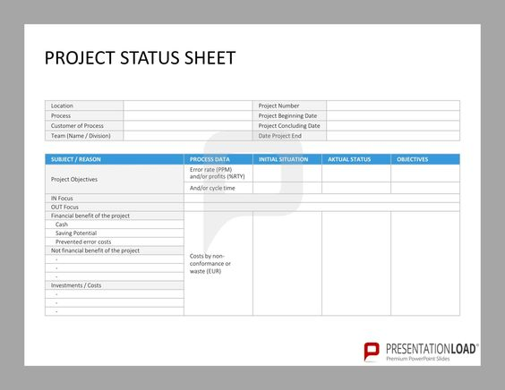 Project Status Sheet  Six Sigma  PowerpointTemplates  Http