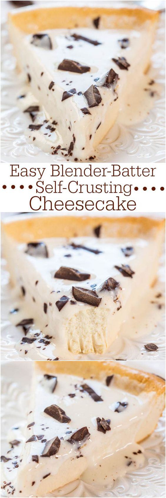 Easy Blender-Batter Self-Crusting Cheesecake Recipe via Averie Cooks - No crust to make and whiz the batter together in the blender!! Easy, foolproof, and so good!!