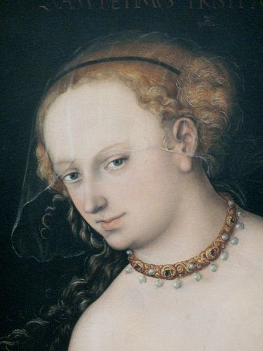 Lucas Cranach the Elder (Lucas Cranach der Ältere, c. 1472 – 16 October 1553) was prodigious and had many followers of his style - so attribution remains a problem. Also, Cranach portrays an 'ideal type' that makes many of his works, difficult to define as genuine 'portraits'.: