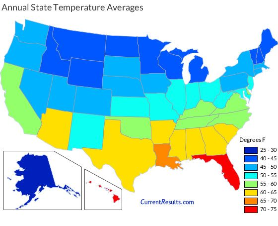 USA state map of annual average temperatures Map Mania Pinterest - fresh world map image with degrees