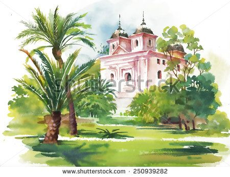 Watercolor summer landscape with building